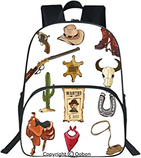 Oobon Kids Toddler School Waterproof 3D Cartoon Backpack, Cartoon Style Collection of Old Wild West Icons Sheriff Shotgun Saddle Cactus Print, Fits 14 Inch Laptop
