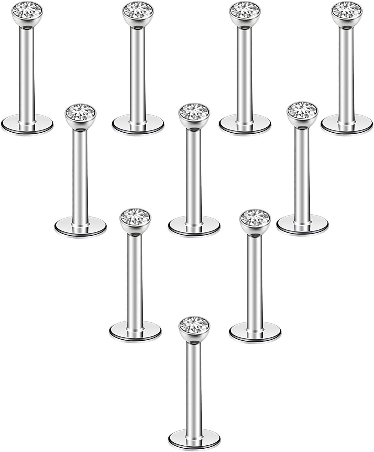 CrazyPiercing 10Pcs 16G Lip Rings 6mm 8mm 10mm Labret Monroe Lip Ring Stainless Steel Nose Studs Piercing Internally Threaded Piercing Jewelry with 4mm CZ