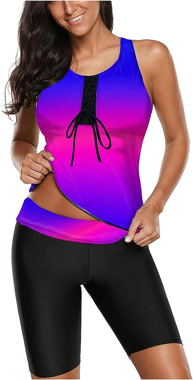 IZHH Women's Rash Guard Tankini Athletic Swimwear Two Piece Set Swimming Tank Top Surfing Shorts