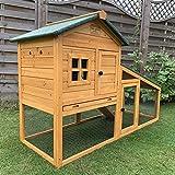 FeelGoodUK Cage De Lapin Imperméable Clapier À Lapin En Bois Massif Clapier Extérieur Jardin 2 Étages Pour Hamster Rongeurs 150 x 66 x 100 cm