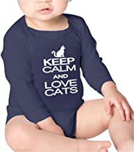 Keep Calm Love Cats Baby Solid Unisex Long Sleeve Round Neck Onesie