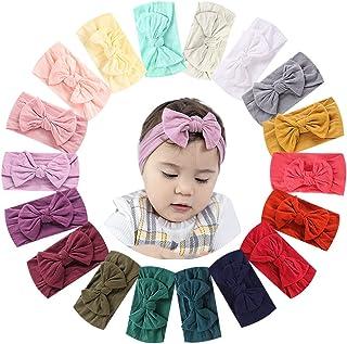 18 قطعة من النايلون لعصابة شعر للبنات الرضع وفيونكة شعر للبنات بعقدة غطاء للرأس للأطفال حديثي الولادة إكسسوارات الشعر