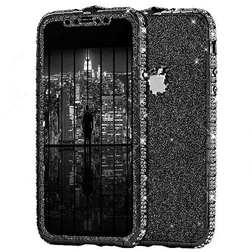 Surakey Kompatibel mit iPhone 8 Hülle Glitzer Glänzend Kristall Bling Handyhülle Glitzer Strass Diamant Metall Bumper Case Vorne Hinten Glitzerfolie Skin Schutzhülle Tasche für iPhone 8,Schwarz