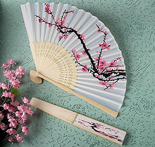 Delicate Cherry Blossom Design Silk Folding Fan Favours