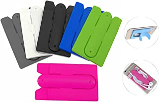 Kinteshun Cards Holder with Cell Phone Stand,Universal Multiuse Stick-on Silicon Rubber Smartphone Sleeve Support Wallet(6pcs with
