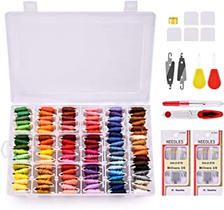 刺しゅう系 刺繍セット 108色 8M AUSHEN クロスステッチ カラーが豊富でキレイ!収納ボックス付き 刺しゅう針32本 抜糸ツール2本 巻いた刺しゅう系 きれいに整理!コンパクト 収納便利 刺しゅうツール
