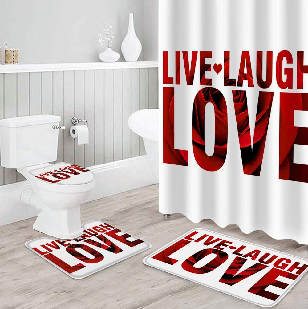 Shower Curtain Set 4 Piece Phoenix Mall for Rugs NEW before selling ☆ Non-Slip Bathroom Toil with