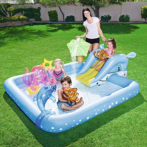 YANGHAO-Bañera grande- Piscina inflable para niños con fuente de diapositivas, sobre tierra Piscinas para niños Piscillas de remo, Piscina de agua de verano al aire libre Piscina Familia Piscina Azul