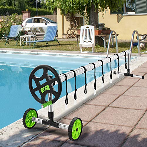 CharaVector 22.5 Feet Pool Cover Reel Set Aluminum Pool Solar Cover Reel for Inground/Outdoor Swimming Pool Cover Blanket Reel Set(Green)