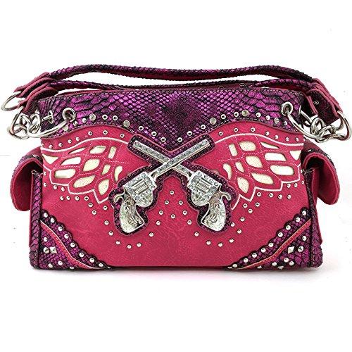 Justin West Guns Pistol Angel Wings Concealed Carry Handbag Purse (Hot Pink)