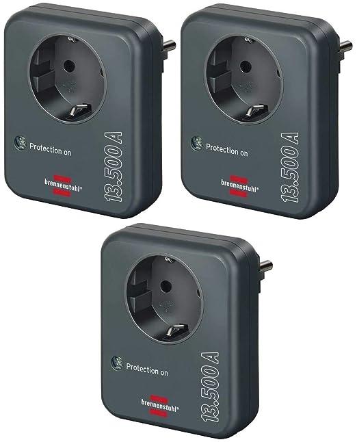 Brennenstuhl Steckdosenadapter Mit Überspannungsschutz 13 500 A Adapter Als Blitzschutz Für Elektrogeräte Anthrazit Baumarkt