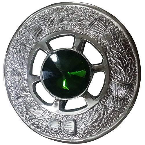 Highland Celtic Pin & Brooches Ladies Tartan Sash/Women Shawl Tartans Sash Kilt Fly Plaid Brooch Green Stone Chrome Finish 2' 5cm