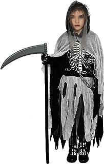 YoleShy Girls Grim Reaper Costume Kids Reaper Costume for Girls, Reaper Girl Costume Kids Halloween Costumes for Girls Glo...