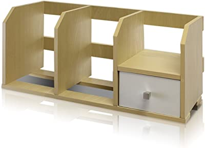 Furinno Pasir Desk Storage Shelf with Bin, Steam Beech/White