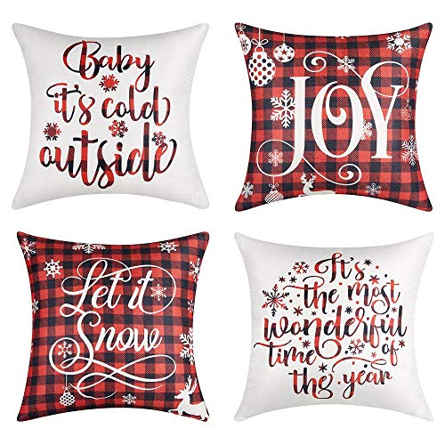 Lanpn Christmas 20x20 Throw Pillow Covers, Decorative Outdoor Farmhouse Merry Christmas Xmas Lumbar Pillow Shams Cases Slipcovers Cover Set of 4 Couch Sofa