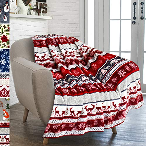 PAVILIA Christmas Throw Blanket | Holiday Christmas Reindeer Snowflakes Fleece Blanket | Soft, Plush, Warm Winter Cabin Throw, 50x60 (Christmas Red)