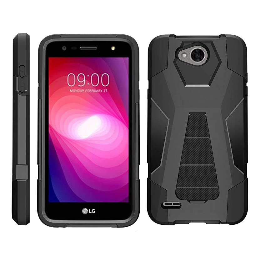 TurtleArmor | Compatible for LG X Power 2 Case | LG Fiesta 2 Case | LG X Charge Case [Dynamic Shell] Hard Shell Impact Silicone Case Hybrid Shock Kickstand Ocean Beach Design - Black