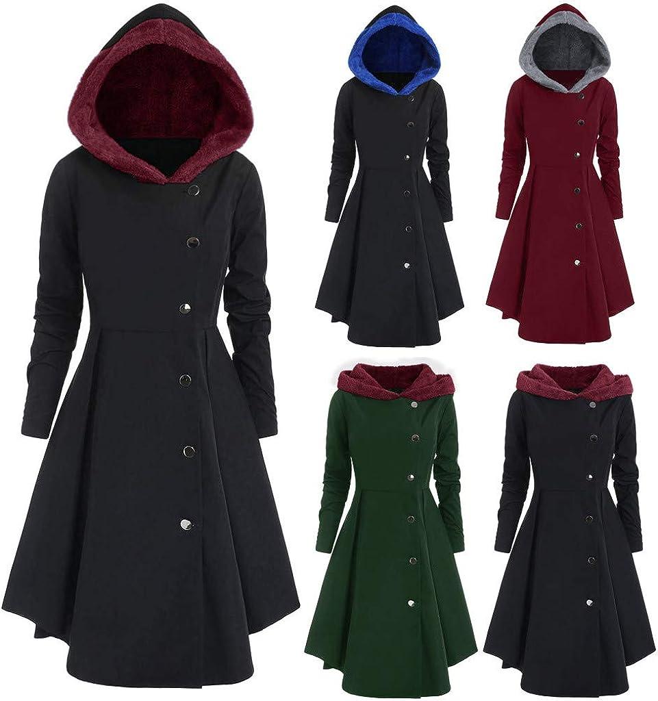 WooCo Übergröße Übergangsjacke Damen Baumwollmischung Mantel - Frau Lang Jacke Kleider Langarm Pullover Kapuze mit & Knopf Schwarz