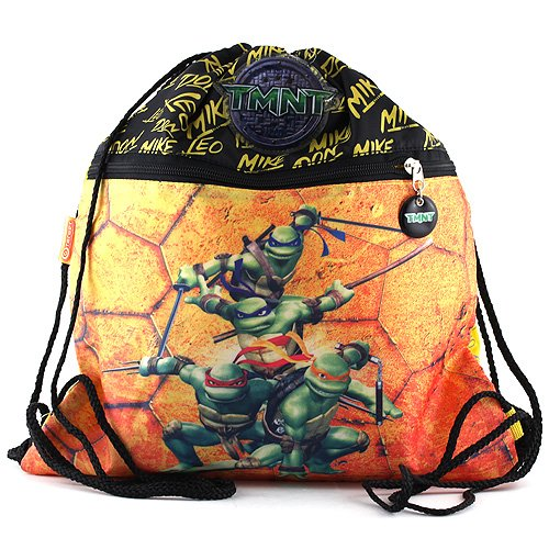 Target TMNT Ninja Tourtles Turnbeutel Mochila Infantil, 37 cm, (Schwarz/Gelb/Orange)