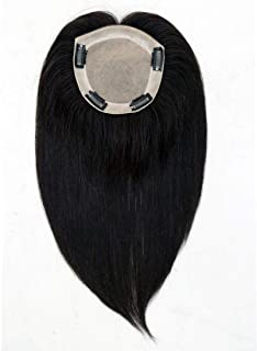 UniWigs Remy Human Hair Topper Pieces, 12 inches Natural Black, Silk Skin Top Base Natural Parting Line For Hair Loss or Thinning Hair