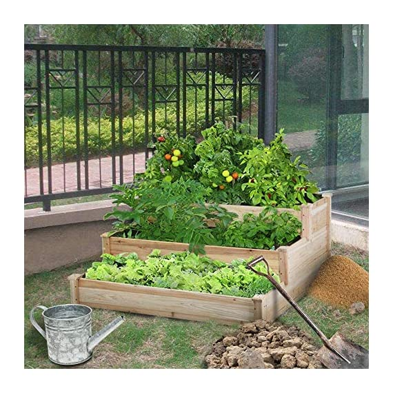YAHEETECH 3 Tier Raised Garden Bed Wooden Elevated Garden Bed Kit for Vegetables Outdoor Indoor Solid Wood 49 x 49 x 21… 8 Useful & Practical – With this helpful planter, you can cultivate plants like vegetable, flowers, herbs in your patio, yard, garden and greenhouse, and make them more convenient to manage. 3 TIERS DESIGN: This elevated planter provides 3 growing areas for different plants or planting methods. Each tier is connected with wood plugs, which allows this 3-tier garden bed to be easily transformed into 3 single separate growing beds in different sizes if needed. Customizable design – This elevated planter provides 3 growing areas for different plants or planting methods. Each tier is connected with wood plugs, which allows this 3-tier garden bed to be easily transformed into 3 separate growing beds in different sizes if needed.