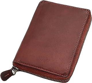 Cartera elegante para mujer de piel de búfalo, con muchos compartimentos para tarjetas de crédito, color vino tinto