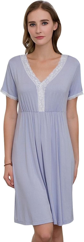 QIANXIU Women's Lace Nightgown, Cotton Sleep Tee Short Sleeves Print Sleepshirt