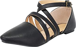 Women's Pointed Toe D'Orsay Crisscross Strappy Ballet Flat
