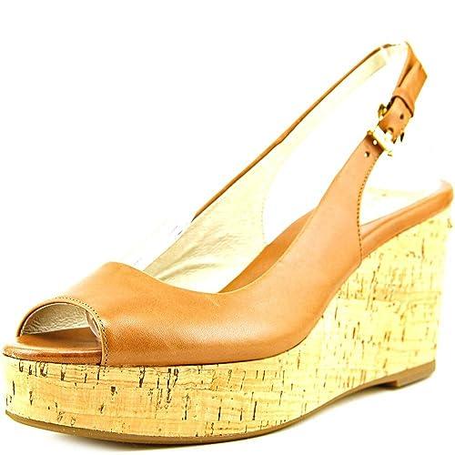 df5542942671 Michael Michael Kors Women s Leather Peep-Toe Wedge Sandals