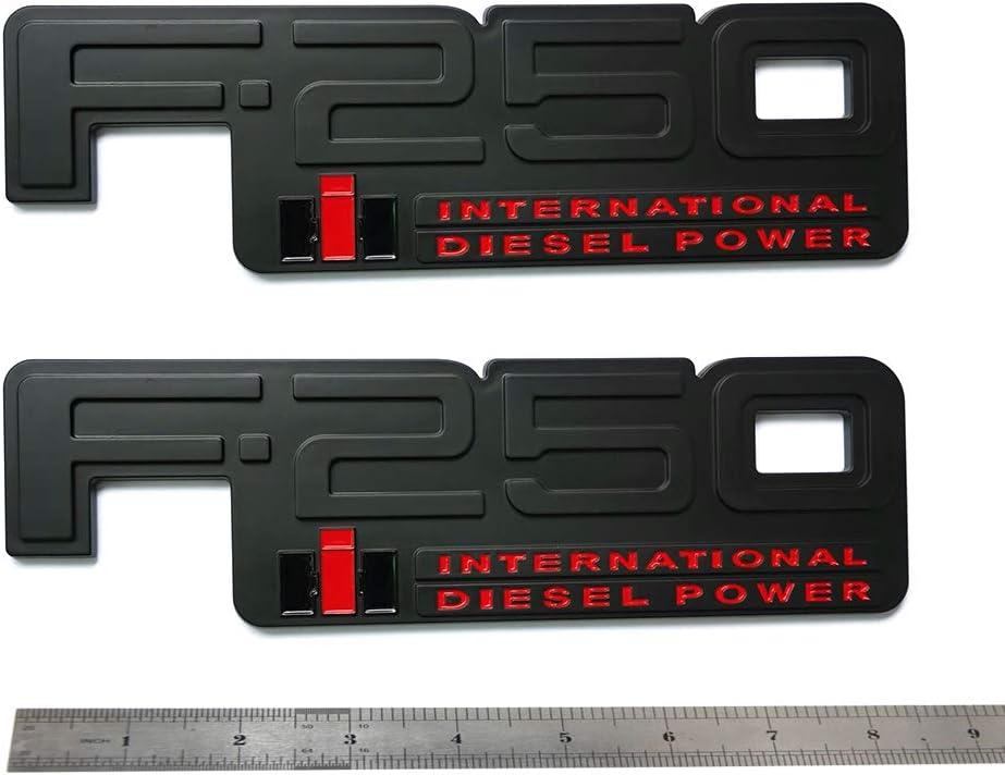 2pcs OEM F-250 International Side Fender Emblem 3D Nameplate Diesel Power Badge Replacement for 83-94 F250 Black White