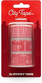 London City Washi Masking Tape - Decorative Adhesive Paper Tape for Arts, Crafts, Scrapbooking, Travel Journal Decoration - Pack of 3