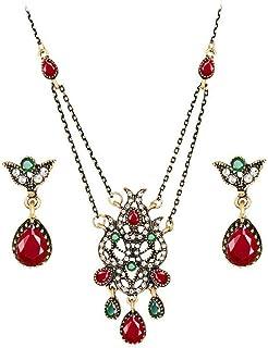 Flyme Necklace Earrings Diamond Tulip Flower Elegant Women Jewellery Set of Crystal Pendant Necklace+Earrings