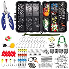 ✿ Various Fishing Accessories - this track box inclues 188pcs fishing accessories, Fishing Lures, Fishing hooks, Fishing Sinker Weights, Fishing Leaders, ✿ High Quality Material - all fishing accessories are made of stainless steel, prevent corrosion...