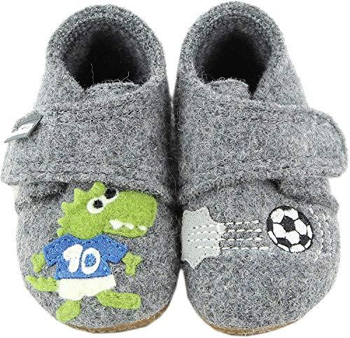 Living Kitzbühel Jungen Babyklett. Krokodil & Fußball Hausschuhe, Grau (Grau 610), 18 EU