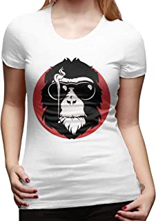 Mary West Mono Que Fuma Genial Camiseta de Manga Corta de Corte clásico para Mujer Camisetas de Manga Corta Camiseta con C...