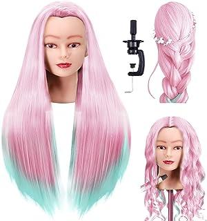 FABA مانکن سر الیاف مصنوعی مو 26-28 اینچ آموزش مدل سازی موهای بلند سر آرایش مو عروسک سر آرایشگاه برای برش بافتن با استفاده از گیره رایگان (رنگی 2)