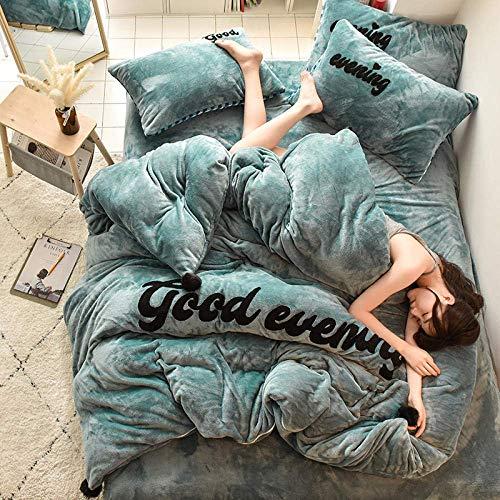mens bedding set double bed,Double Velvet Bedding Sets, girls bedroom Fleece Flat Sheet Duvet Cover Fitted Sheet super King size blue 220 * 240cm(4pcs)