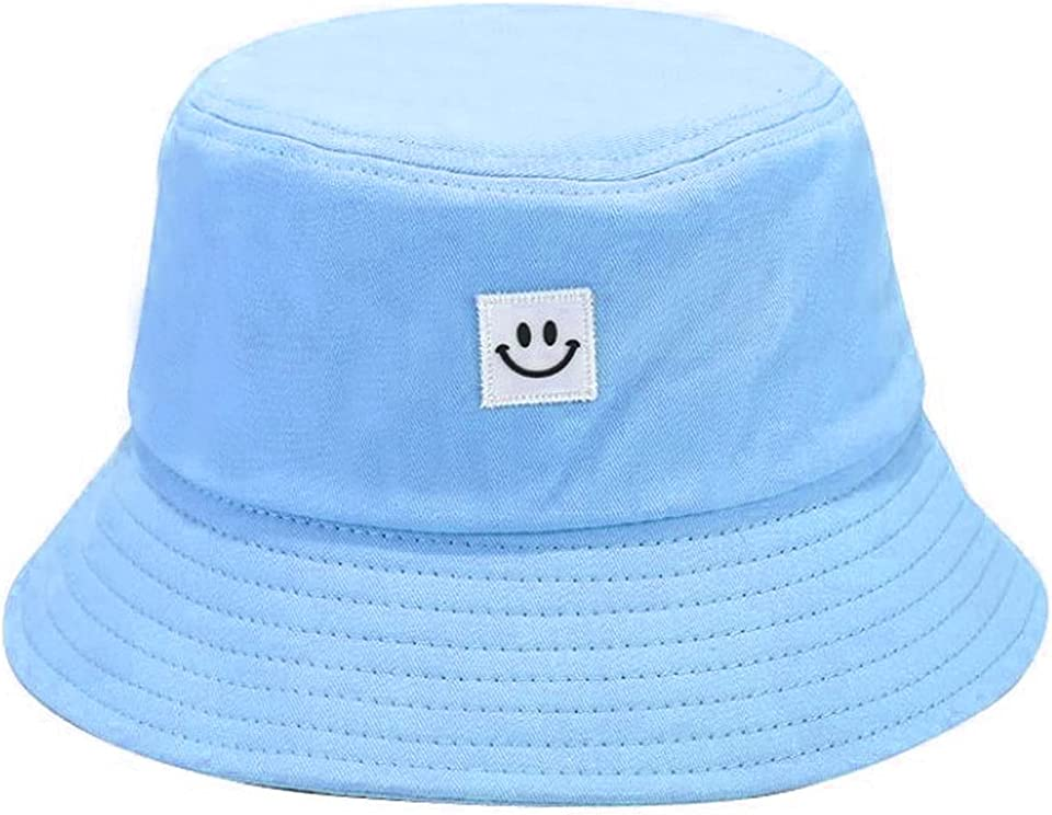Cotton Bucket Hat Smiley Face Bucket Hat Foldable Sun Beach Cap Fisherman Fishing Hat Summer Sun Casual Hat for Unisex Women Men Teens Adult Outdoor Camping Hiking Travel