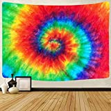 Tie Dye Tapestry Wall Hanging Rainbow Spiral Wall Tapestry for Bedroom Aesthetic Colorful Room Decor Tapestries for Bedroom, Living Room, Dorm Decor (Tie Dye 02, 130cm x 150cm(51'' x 59''))