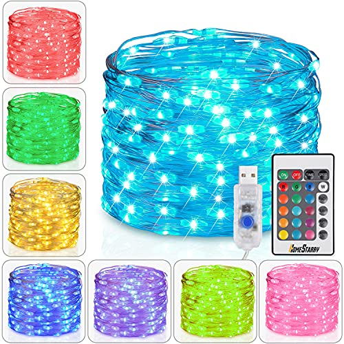 10m 100 LEDs Fairy Lights USB Plug in 16 Colours Indoor Outdoor String Lights with Remote Changing Lights Twinkle Firefly Lights for Bedroom Party Wedding Christmas Tapestry