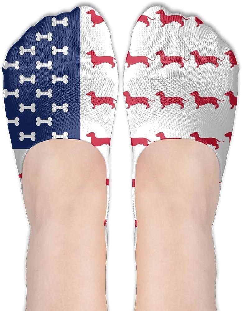 YISHOW Dachshund American Flag No-Show Socks Casual Anti Slip Low Cut Crew Boat Sock Hidden Flat Line