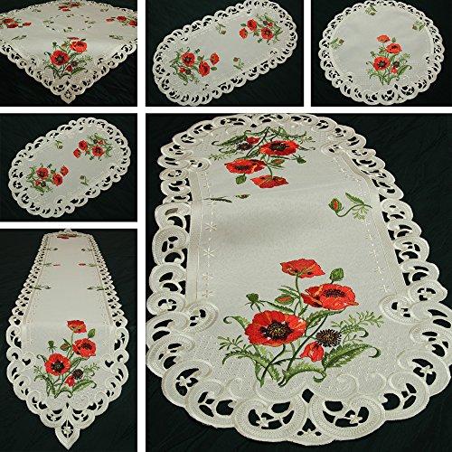 Quinnyshop Roter Klatschmohn Stickerei Tischläufer 30 x 45 cm Oval Polyester, Creme