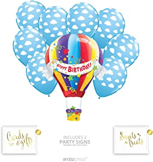Andaz Press Hot Air Balloon Party Balloon Bouquet Set, Birthday Party Supplies, Inflatable Foil Happy Birthday Hot Air Balloon and Cloud Latex Balloons, Bulk Balloon Kits for Birthday Party Decoration
