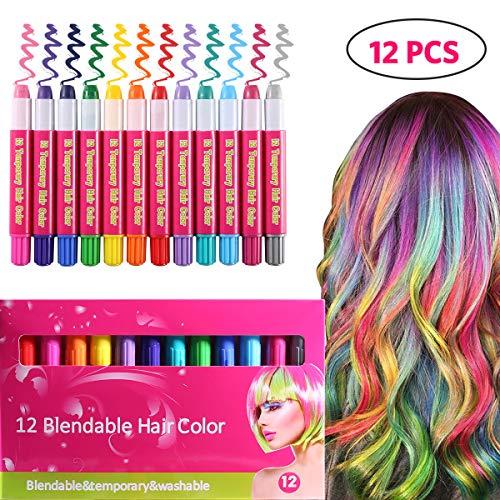 Tizas para el Pelo, TizaCabello 12 Colores, Coloración Temporal Cabello, Regalos para Niñas, Lavables