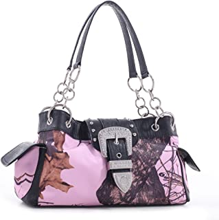 LICENSED MOSSY OAK Camouflage Shoulder bag Rhinestone Buckle Handbag