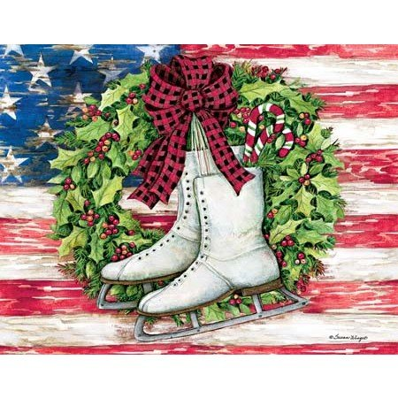 "LANG -""Patriotic Skates"", Boxed Christmas Cards, Artwork by Susan Winget"" - 18 Cards, 19 envelopes - 5.375"" x 6.875"""