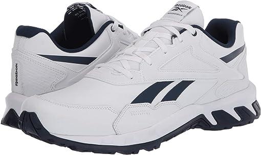 White/Collegiate Navy/White Leather