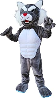 Krister Bobcat Wildcat Mascot Costume Adult Halloween Costume Grey