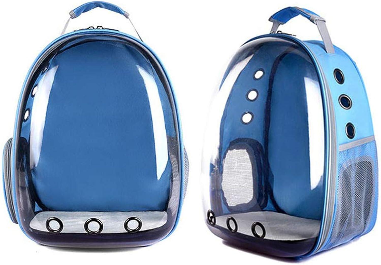 Pet Cat Dog Shoulder Bag Backpack Pet Travel Panoramic Space Bag Portable Backpack Blue 42x31x25cm