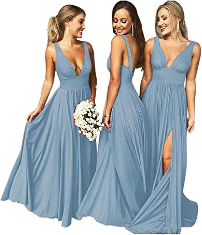 Bridesmaid Dresses for Women Formal V Neck Split Empire Waist Prom Dress 2021 Long Backless Open Back A Line Evening Gown